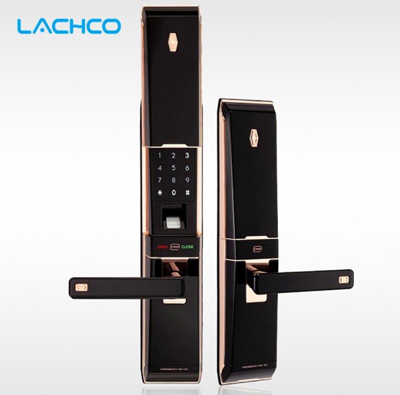 LACHCO Biometryczna inteligentna elektroniczna blokada drzwi Cyfrowy ekran dotykowy Odcisk palca + hasło + karta + klucz 4-kierunkowy przesuwna pokrywa L16012GB