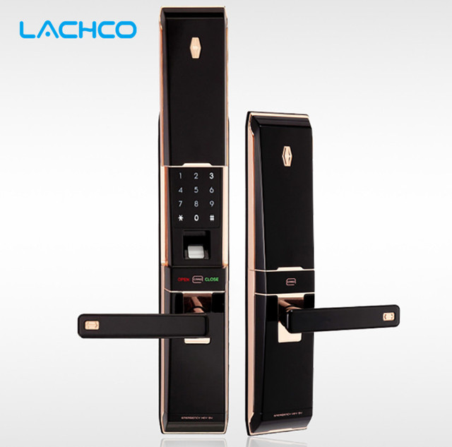 LACHCO Biometric Smart electronic Door Lock Digital Touch Screen  Fingerprint+Password+ Card+Key 4ways Sliding Cover  L16012GB