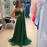 Abendkleider Long Emerald Green Chiffon Prom Dress A Line Beaded Sweetheart Evening Formal Dresses With Pleats