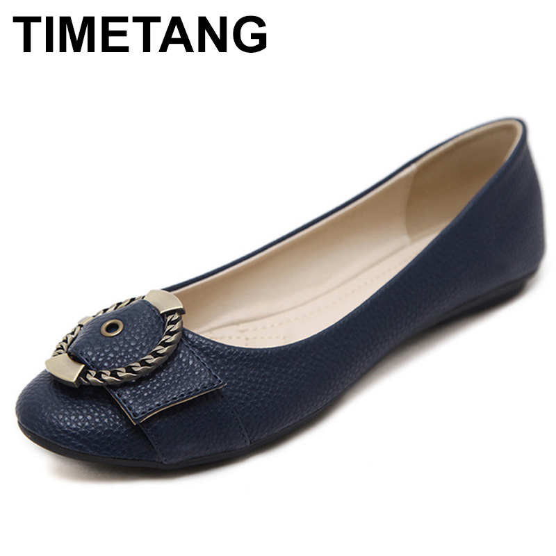 TIMETANG Flat Shoes Women Shallow Mouth Buckle Ballerina Flats Wedding Shoes Flat Heel Ladies Casual Shoes Plus Size 35-41 C140