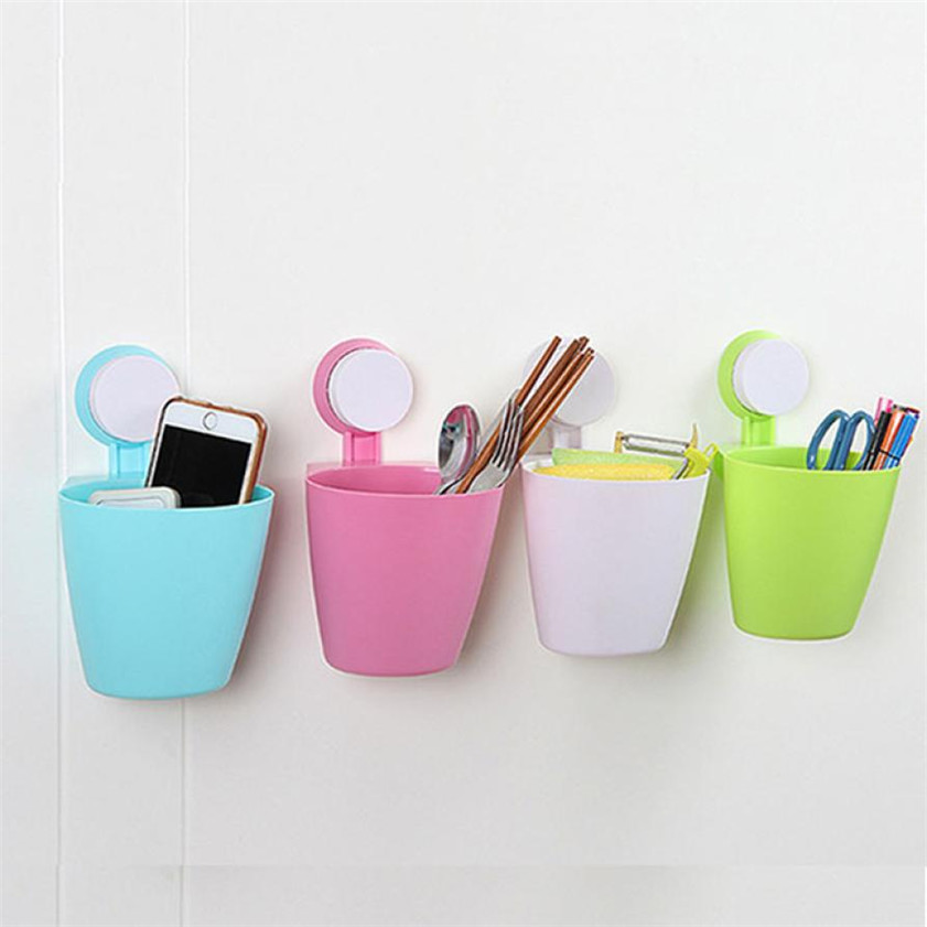 D-2 High Cost-Effective 2016 Fashion Suction Cup Mount Hanging Bathroom Kitchen Trash Can Storage Box