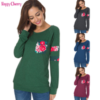 Happy Cherry Female T shirt Maternity Clothing Women Plus Size Tops Floral Fashion Long Sleeves Lady's Clothes Pregnancy T shirt