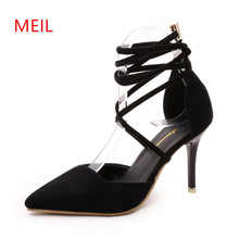 9 CM Sexy Strap High Heels Sandals Women Summer Ladies Shoes Womans Shoes Fashions 2018 Pointed Toe Wedding Party Shoes Women цена