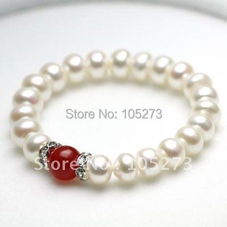 Adorável AA 9 - 10 MM cor branco pérola de água doce pulseira Jade jóias 8 polegada bijuterias nova frete grátis