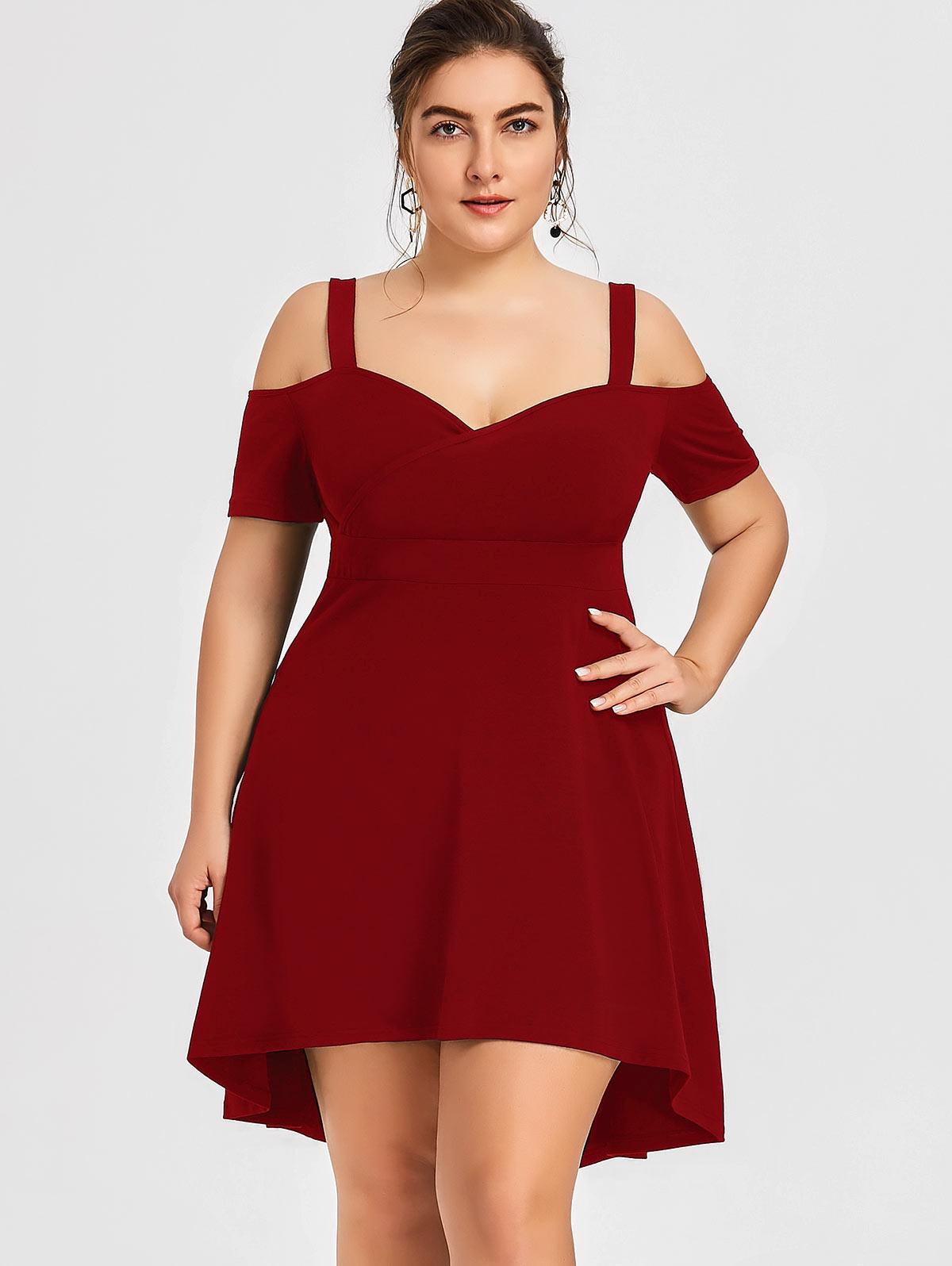 Wipalo Summer Cold Shoulder Black Party Dress Plus Size 5XL ...
