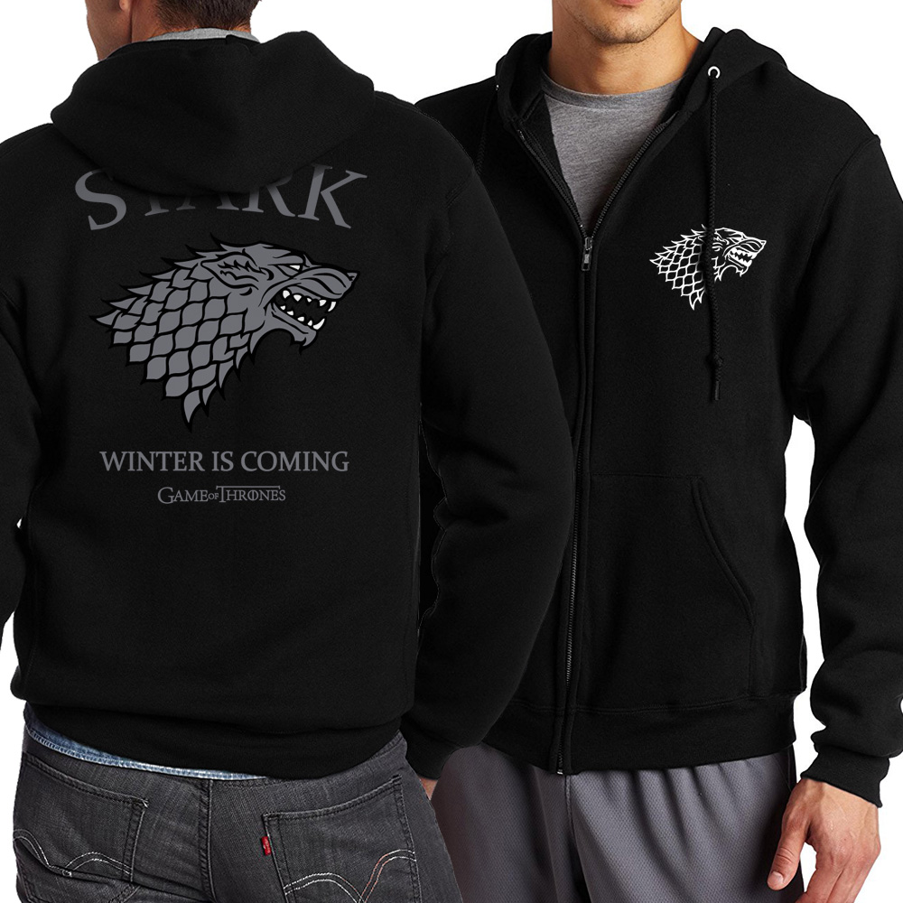 Game of Thrones Theme House Stark Winter Is Coming Fleece Spring Autumn Zipper Sweatshirts Men's Sportswear Tracksuit Wolf Male