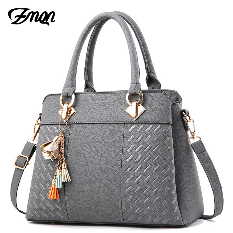 ZMQN Women Handbags For 2018 Luxury Handbags Women Bags Designer Women Leather Handbag Tassel Shoulder Bag Wmen Bolsa Gray B711