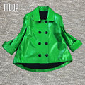 Green genuine leather jackets women 100%Lambskin jacket coat cloak croped veste en cuir femme jaqueta de couro croped LT336