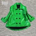 Verde chaquetas de cuero genuino de las mujeres 100% de piel de Cordero chaqueta de abrigo capa jaqueta de couro croped croped en cuir veste femme LT336