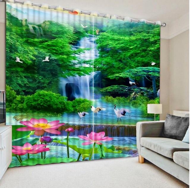 € 85.15 53% de réduction Rideaux de fenêtre personnalisés rideaux de  fenêtre modernes Nature forêt cascade Lotus grue blanche décoration de la  ...