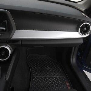 Image 2 - Внутренние наборы SHINEKA ABS, украшение для пассажирской боковой панели, отделка из углеродного волокна для 6 го поколения Chevrolet Camaro 2017 +