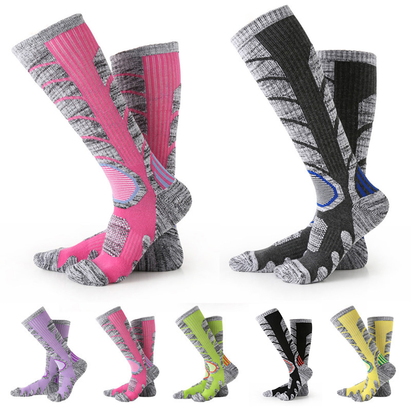 Winter Warm Men Women Thermal Ski Socks Thick Cotton Sports Snowboard Cycling Skiing Soccer Socks Leg Warmers Long Socks 7colors