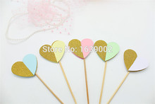 10pcs/lot Free shipping Creative Design Stereo Heart Shaped Colorful Cupcake Topper Wedding Cake (