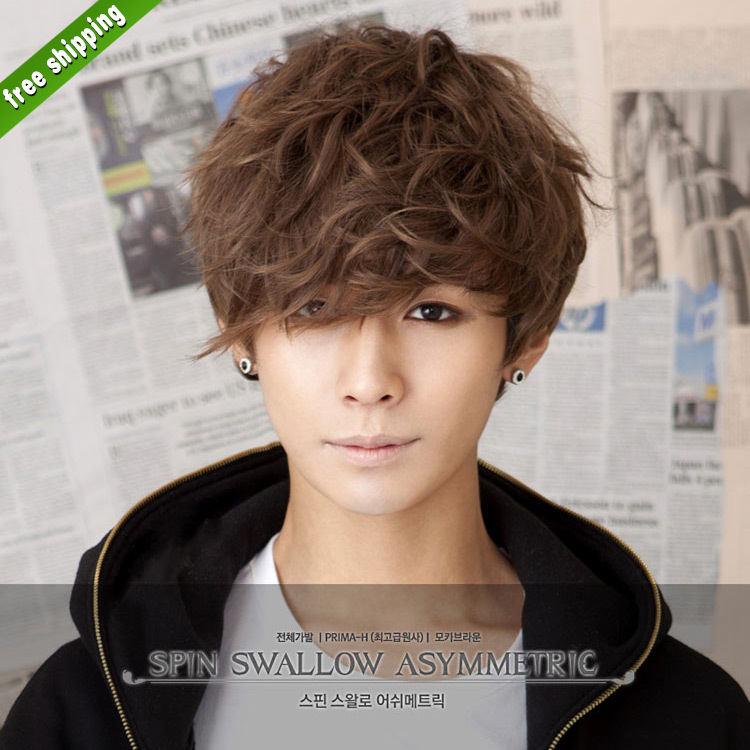 Handsome Man Wig Synthetic Men s Wigs Short Boys Wig pelucas sinteticas  anime cosplay curly cheap african american short wigs-in Men s Costumes  from Novelty ... d2f20f703