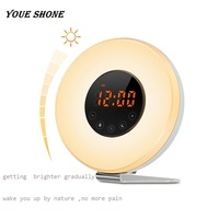 Reida Alarm Clock Wake Up Light Touch Simulation Sunrise Sunset Snooze FM Redio Function Night Light
