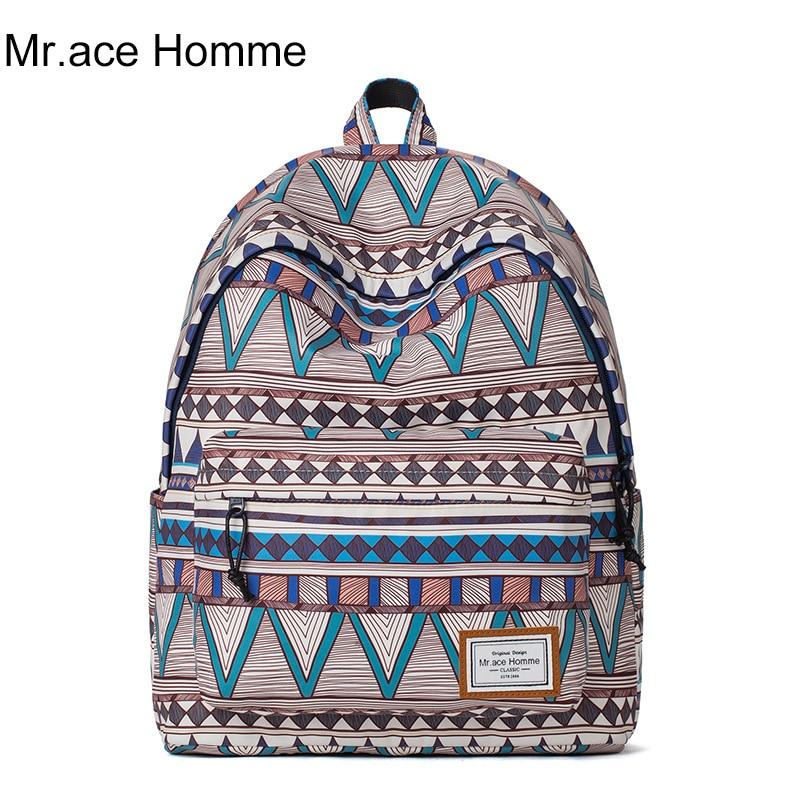 New men's geometric retro printing backpack 2017 fashion Bohemian style ladies school bags high quality 14 inch travel backpacks плащ violeta by mango violeta by mango vi005ewwyc89