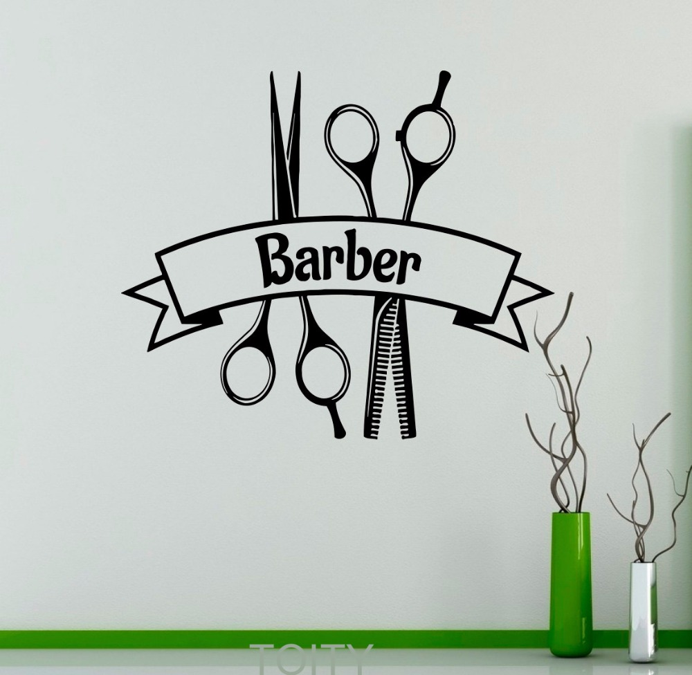 Barber shop vinyl decal symbol hairdressing salon logo for Stickers salon
