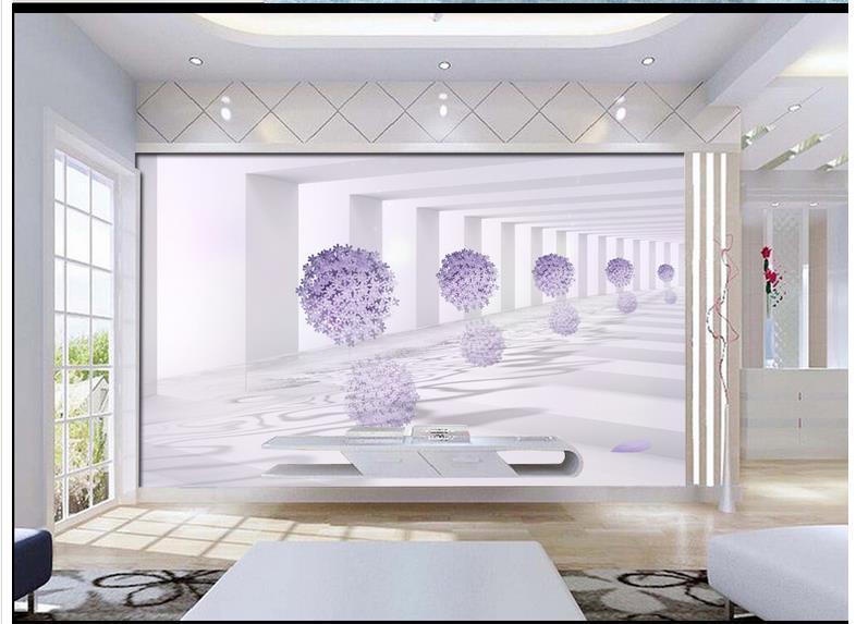 3D Wandbilder Wallpaper Benutzerdefinierte Wandbild 3D Raum Lila Blume  Fernsehhintergrundwand Papier 3d Wohnzimmer Hintergrund Dekor In 3D  Wandbilder ...