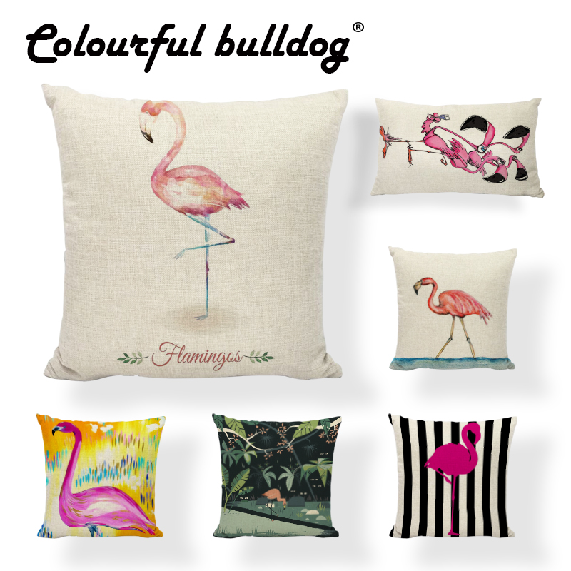 Summer Flower Birds Cushion Cover 45X45cm Palm Leaf Creative Flamingo CactusPillow Cases Pillow Covers Bedroom Sofa Decoration