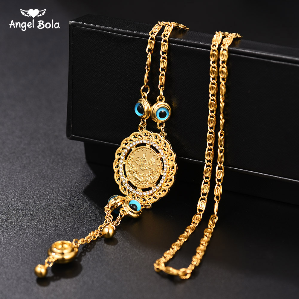 Arab Middle East African Jewelry Ethiopian Gifts Gold Color Charm Muslim Islam  Bracelets for Women with Crystal Bangle