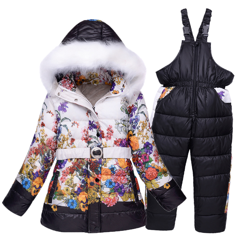 Russia winter girls snow wear kids ski suits floral print fleece jacket skiing pants 2 pieces