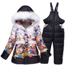 Россия зимние девушки снег носите дети лыжные костюмы цветочный принт флис куртки + лыжные брюки 2 шт. комплект одежды 6 7 8 9 10 лет