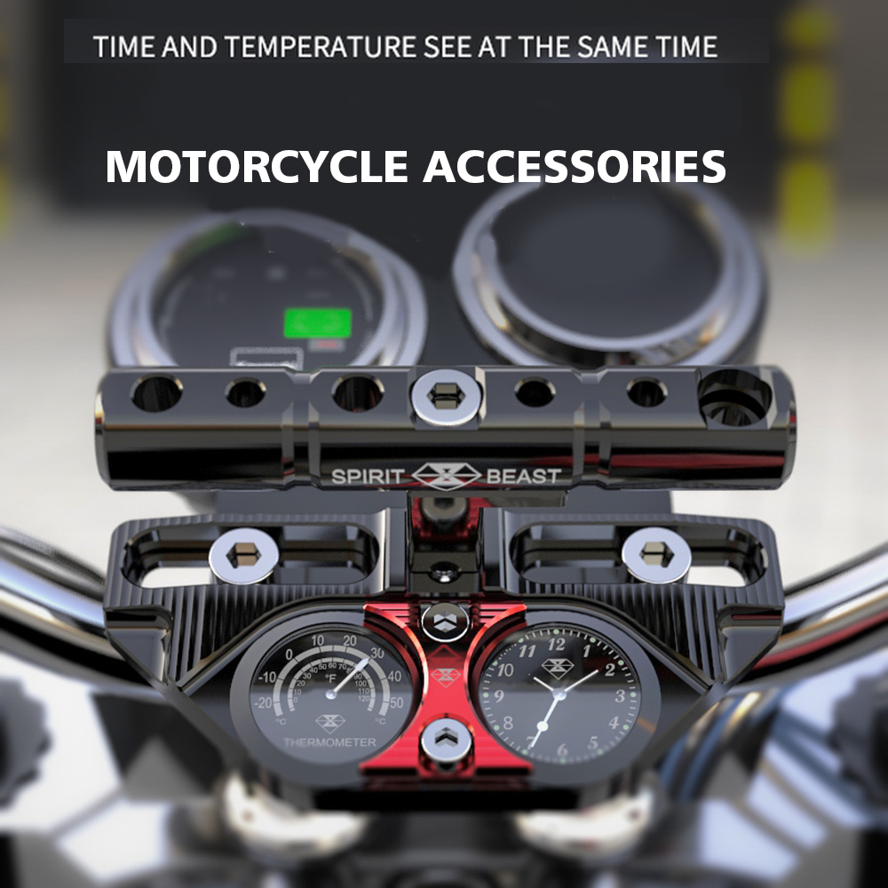 Spirit Beast Motorcycle Bracket Multi-function Clock Motocross Handlebar Pressure Block Extension Rail Bell Accessories