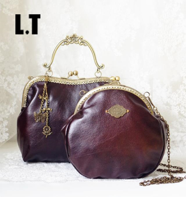 2017 Women Victorian Style Shoulder Bag Handmade Etsy Kiss Lock Vintage Retro Brown Frame Chain PU Leather Kiss Lock Funky Bag