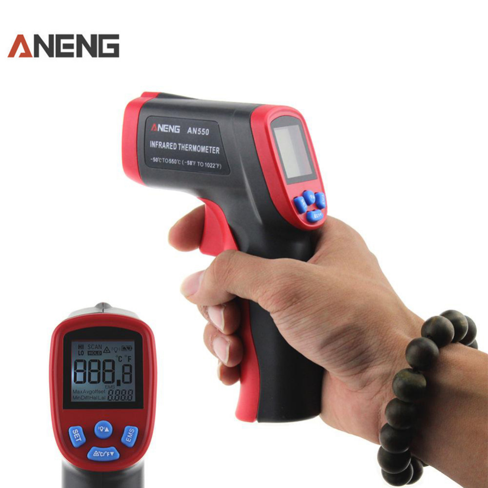 AN550 Digital Laser Infrared Thermometer -50-500C -58-1022F Termometro Digital Non-Contact Hygrometer LCD Temperature Meter Gun an550 laser lcd digital ir infrared thermometer temperature meter gun 50 500c 58 1022f non contact temperature meter gun