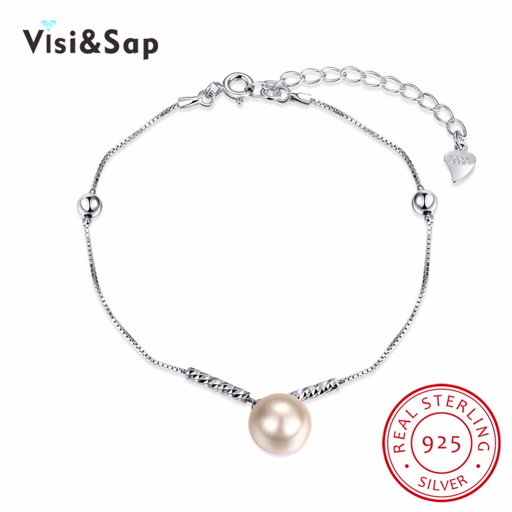 Visisap 925 Sterling Silver Jewelry Bracelets Imitation Pearl Bracelet For  Women Charm Fancy Anniversary Gift Jewelry