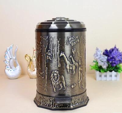 Luxury brown Stainless trash can with plastic bucket metal waste bin for trash b