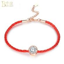 цены BOAKO Crystal Bracelets for Women Green /Red /Blue Rhinestone Charm Bracelet Bangle Red Rope Chain Bracelet Girl Jewelry Z3