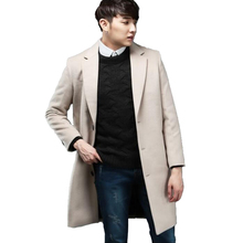 Hot Single-breasted Cashmere Jacket Men Autumn And Winter New male England Fashion Loose Long Section Korean Wool Coat S-6XL