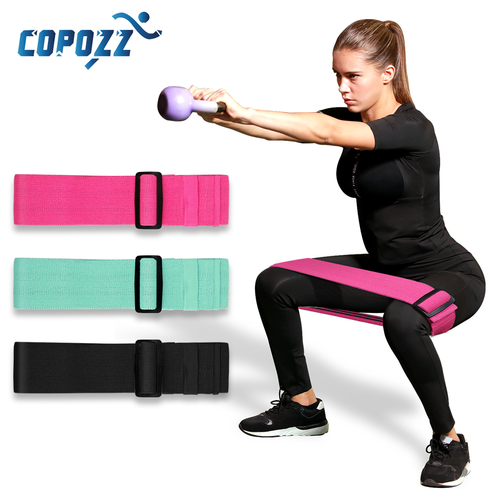COPOZZ Adjustable Yoga Anti Slip Resistance Bands For Legs And Hip Loop Roll Up Exercise Elastic Booty Bands Fitness Equipment