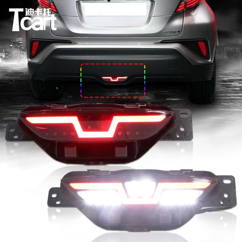 цена на Tcart DRL led rear bumper light For Toyota CHR C-HR 2017 2018 Car Rear Brake Light driving lamp brake reverse light Accessories