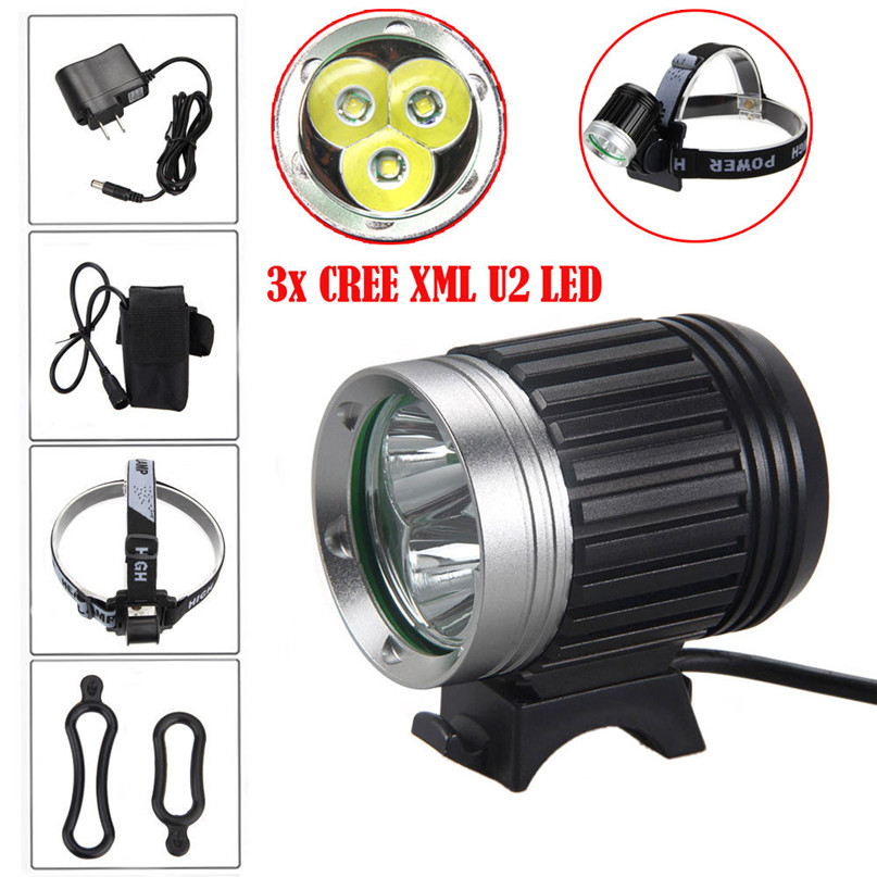 10000LM LED HeadLight Bicycle Bike HeadLight Lamp Light Headlamp Torch bicycle front light Bicycle Double Light #2A27