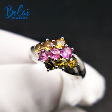 Bolai delicate natural tourmaline ring 925 sterling silver fancy color gemstone fine jewelry for women wedding comfortable rings bolai 100% natural tourmaline ring 925 sterling silver fancy color five stone gemstone fine jewelry for women wedding rings 2019