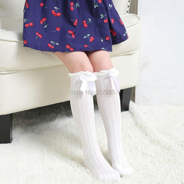 Estate nuove ragazze di disegno per bambini sopra il Ginocchio Calze Traspirante lovely Bow tie sezione Sottile calzini per le ragazze del bambino di modo bambino 4