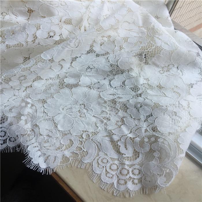 1 stuk/partij hoge katoen chantilly cord wimper kant stof catwalk jurk stof trouwjurk accessoires melkwitte