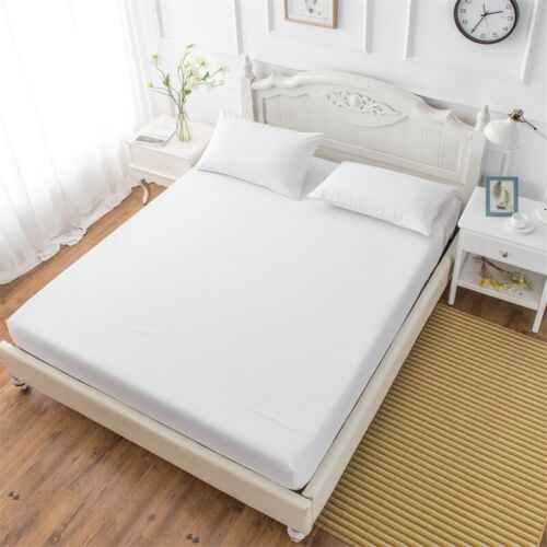 Solid Fitted Sheet Mattress Cover Bed Fitted Sheet Elastic Sheet Polyester Cotton Single Full Queen King with all-around Elastic
