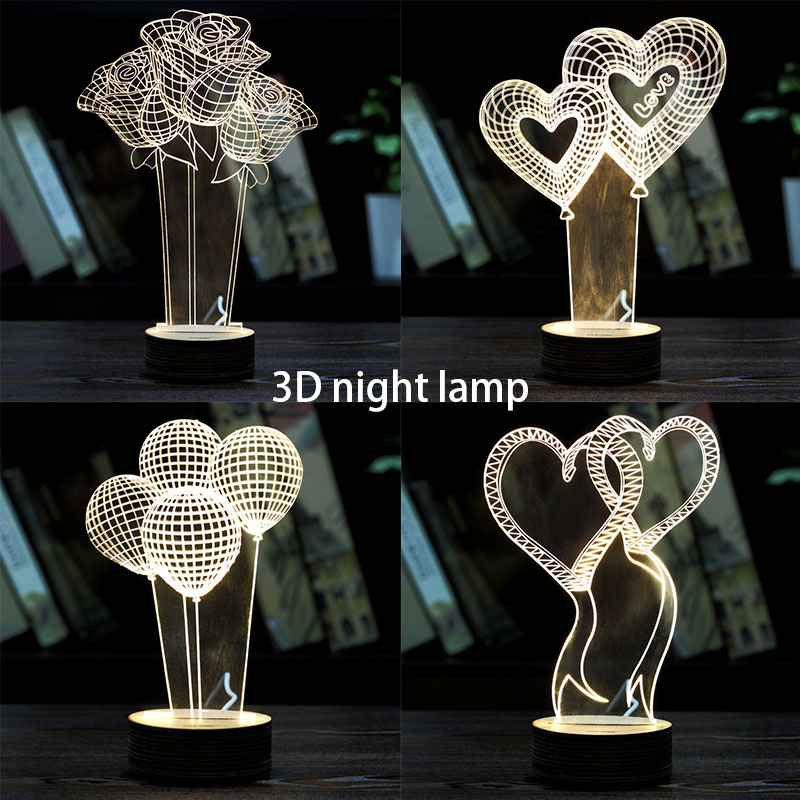 3D Visual Bulb Optical Illusion Colorful Led Lamp Touch Romantic Holiday Night Light Love Heart Wedding Valentine Day Gift