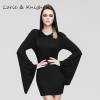 Gothic Rock Woman Hooded Dress Halloween Witch Costume Dress BLACK