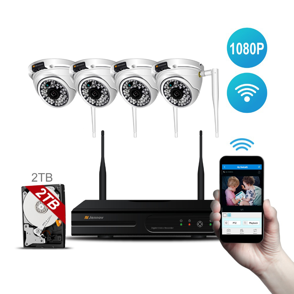 4CH 1080P 2MP HD Wireless NVR Wifi Camera Home Security CCTV wifi ip Camera System Outdoor Waterproof Dome Surveillance Cam P2P