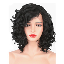StrongBeauty Women's Synthetic Lace Front Wigs Black Curly Hair Medium Lace Wig Natural adiors medium curly side parting colormix synthetic wig