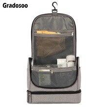 Gradosoo Multifunction Makeup Bag Women Hanging Toiletry Separation Cosmetic Bags Female Travel Organizer Storage Big LBF590