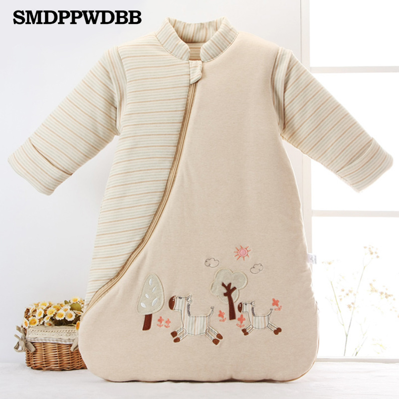 SMDPPWDBB Newborn Baby Sleeping Bag Thickening Detachable Sleeves Winter Organic Cotton Infant Sleeping Bag Keep Warm