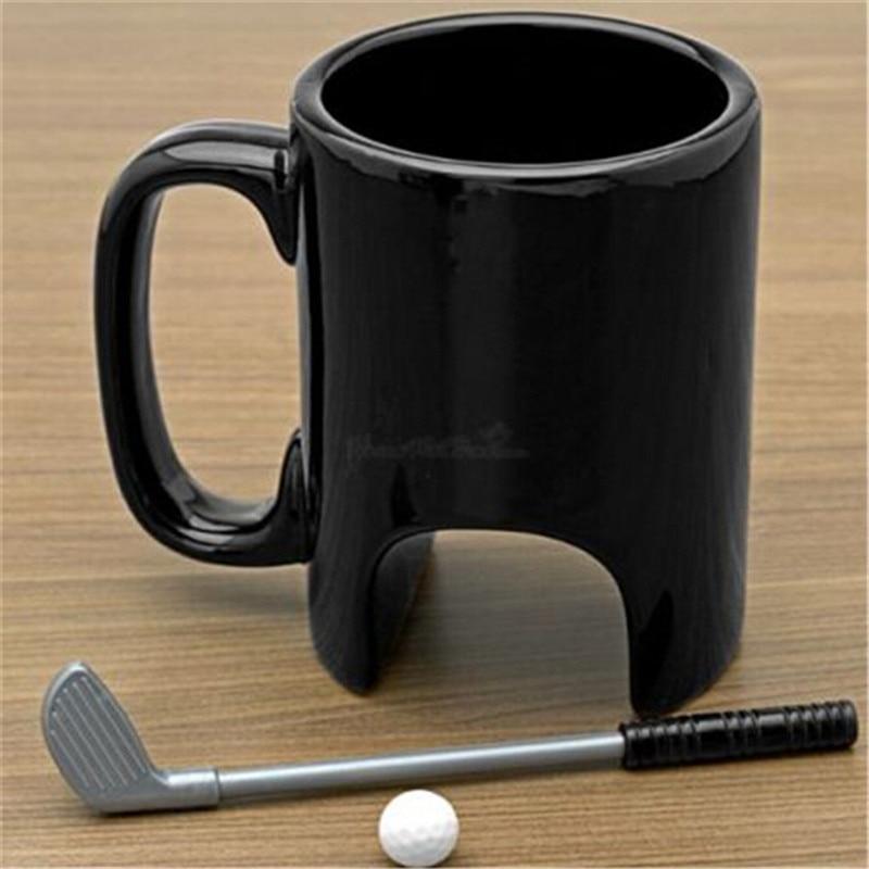 Creative 300ml Mini Black Ceramic Golf Mug Executive Sports Marker Golf Coffee Mugs For Happy Birthday Gift