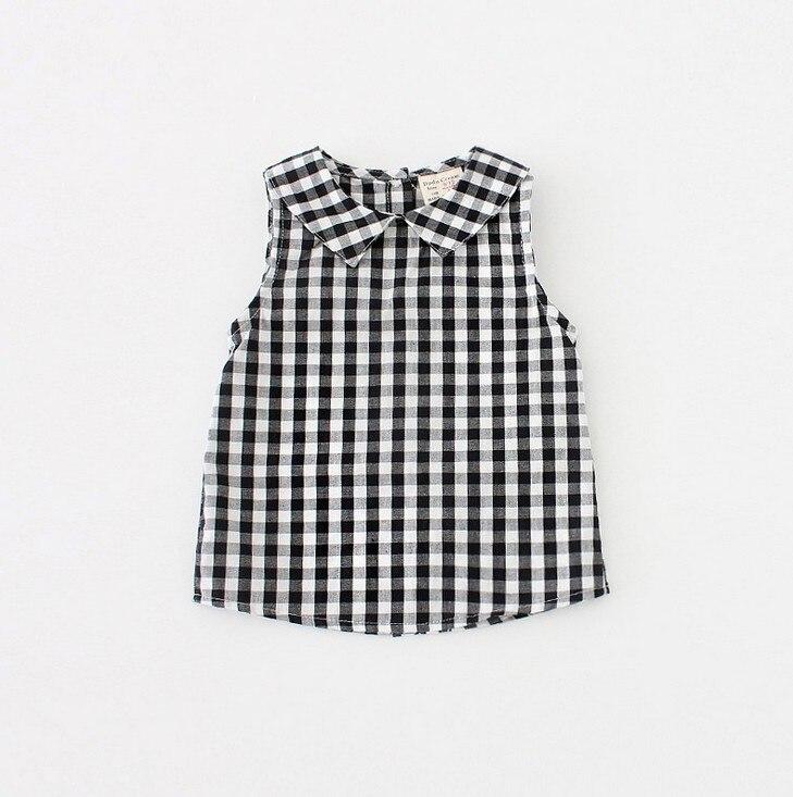 2017 letnie nowe dziewczynek plaid koszule lniane bluzki