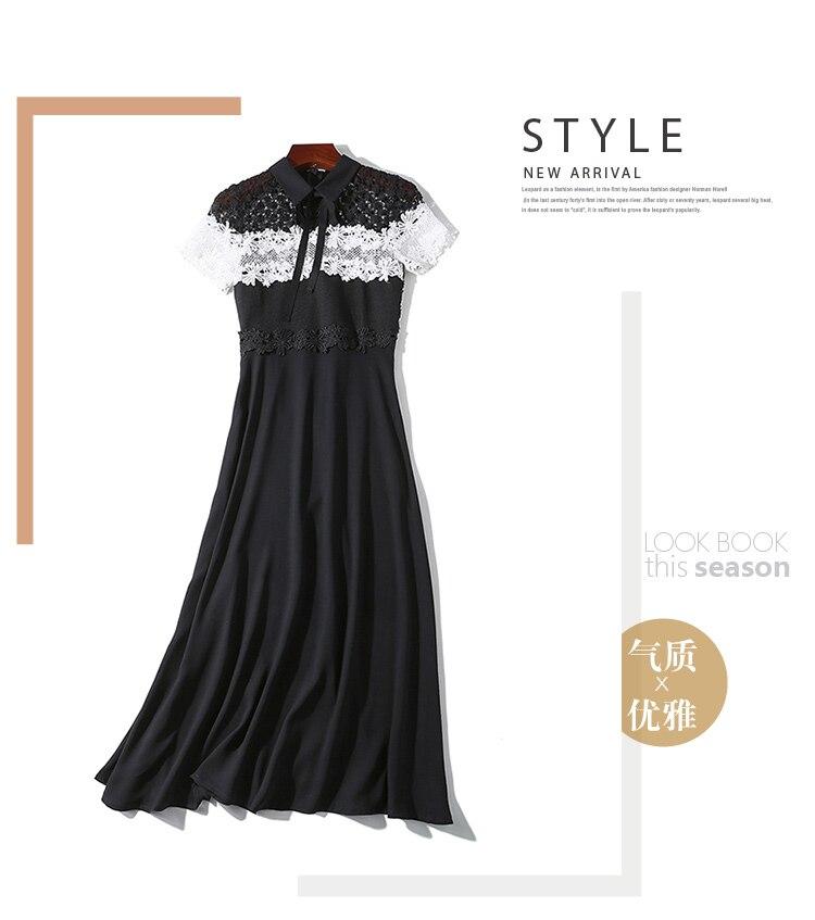 New high end Lace Stitching Chiffon Dress Fashion Dress Office Lady Splicing Bowknot Party Dress Short