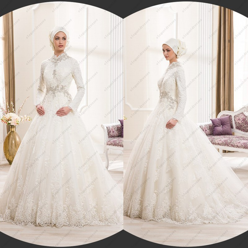 Traditional Wedding Gowns With Long Sleeves: White Lace High Neck Long Sleeve Islamic Wedding Dress
